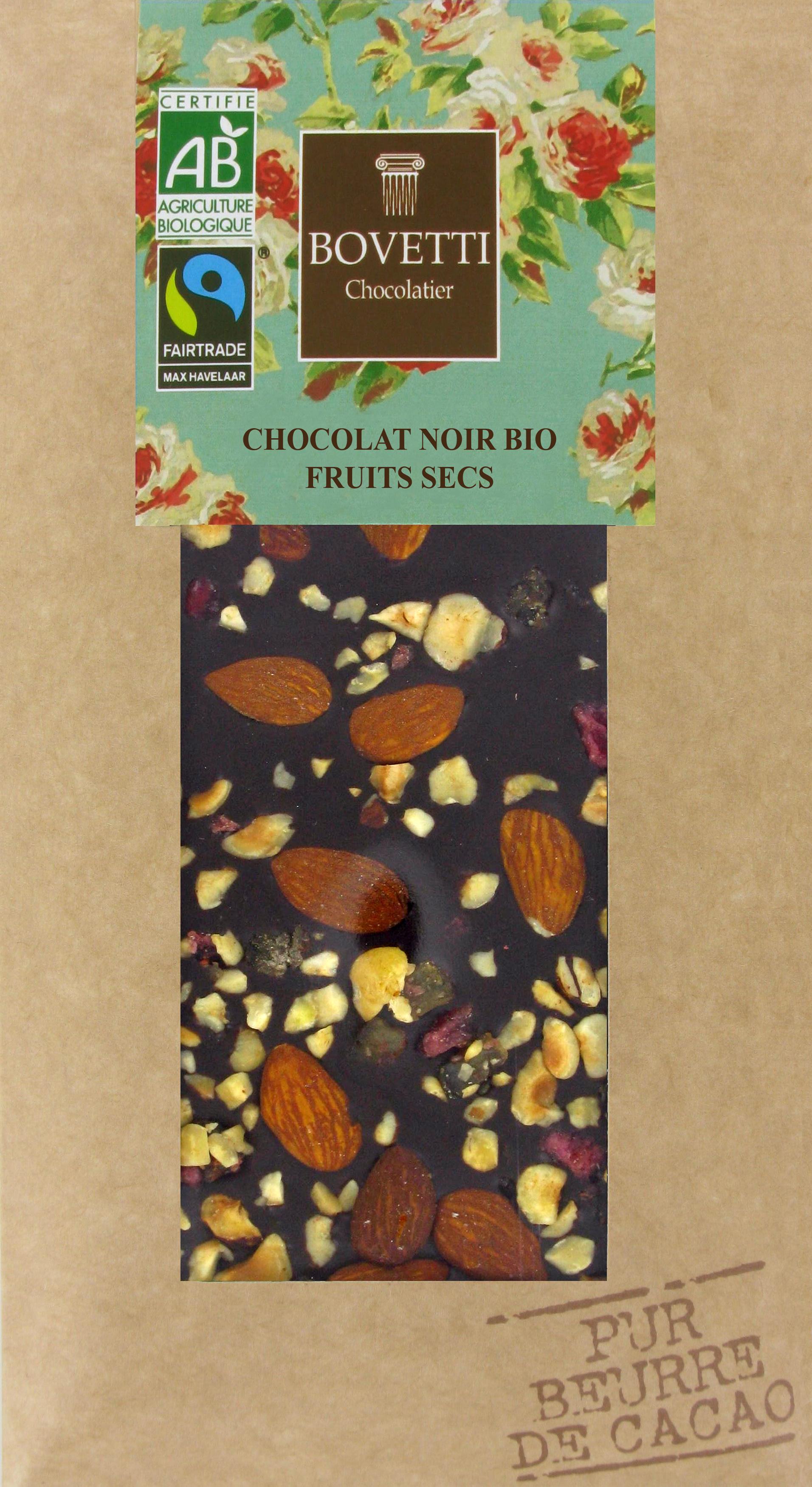 Bio Fair trade horká čokoláda so sušeným ovocím 100g