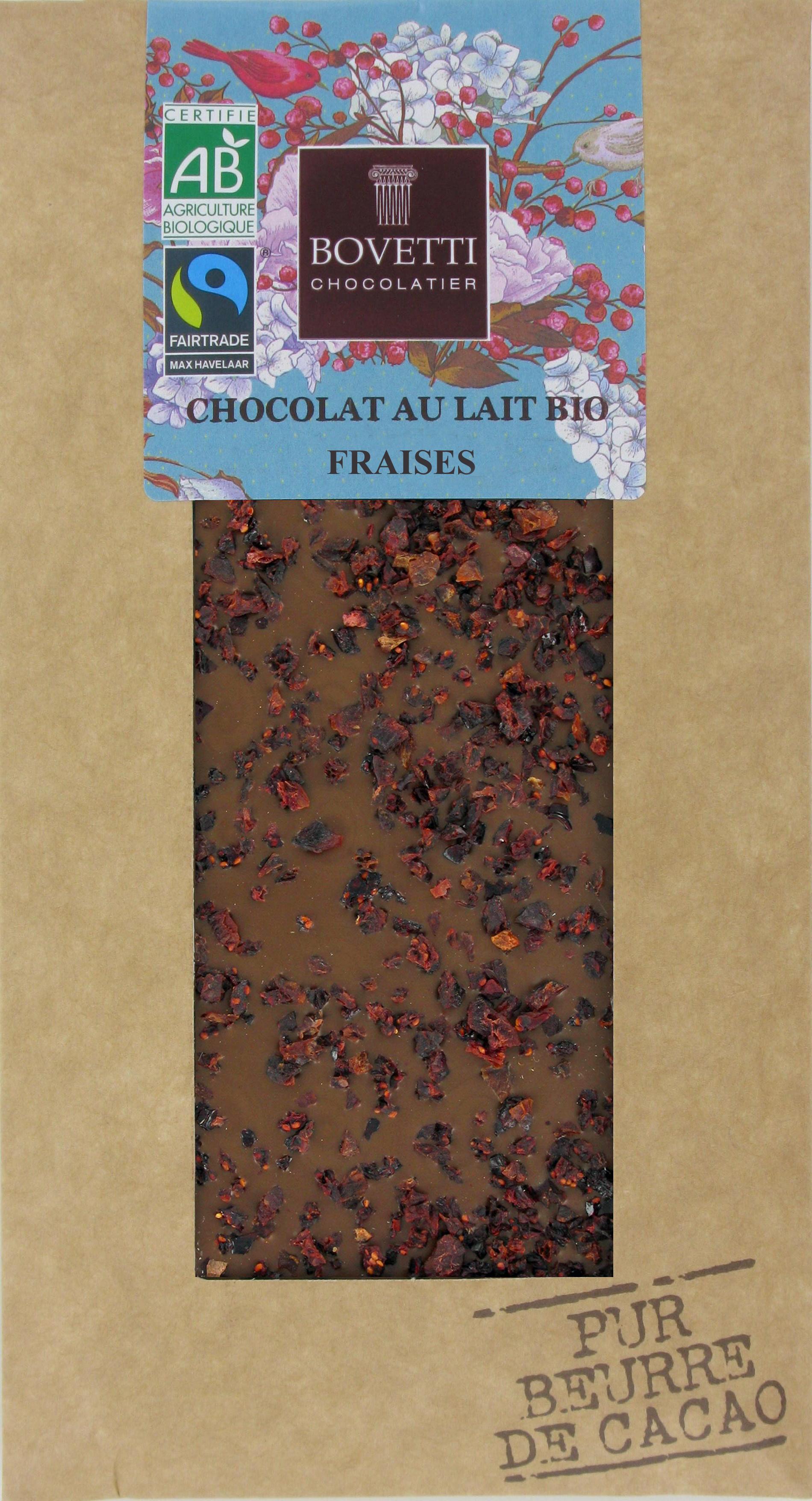 Bio Fair trade mliečna čokoláda s jahodami 100g