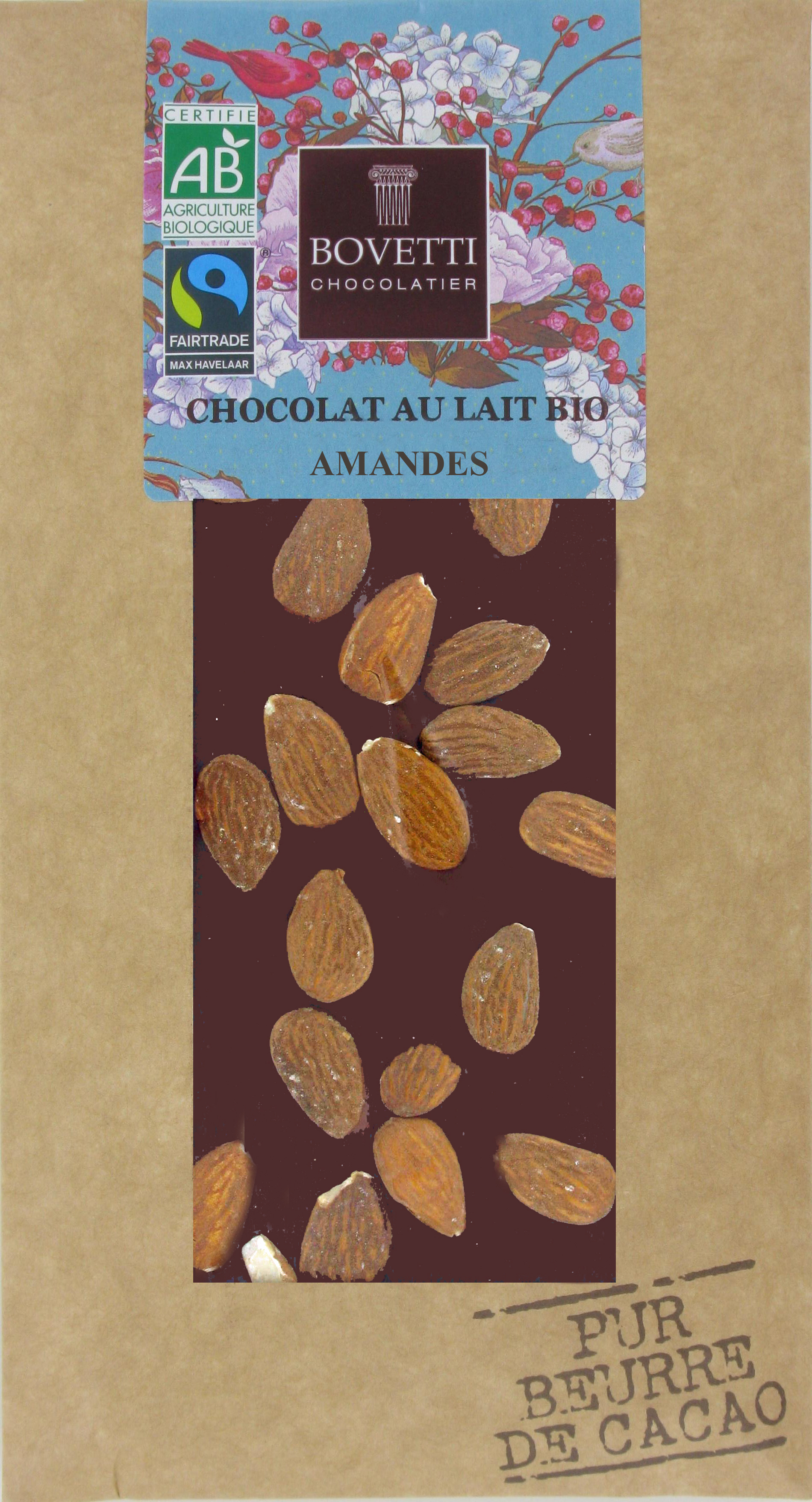 Bio Fair trade mliečna čokoláda s mandlami 100g