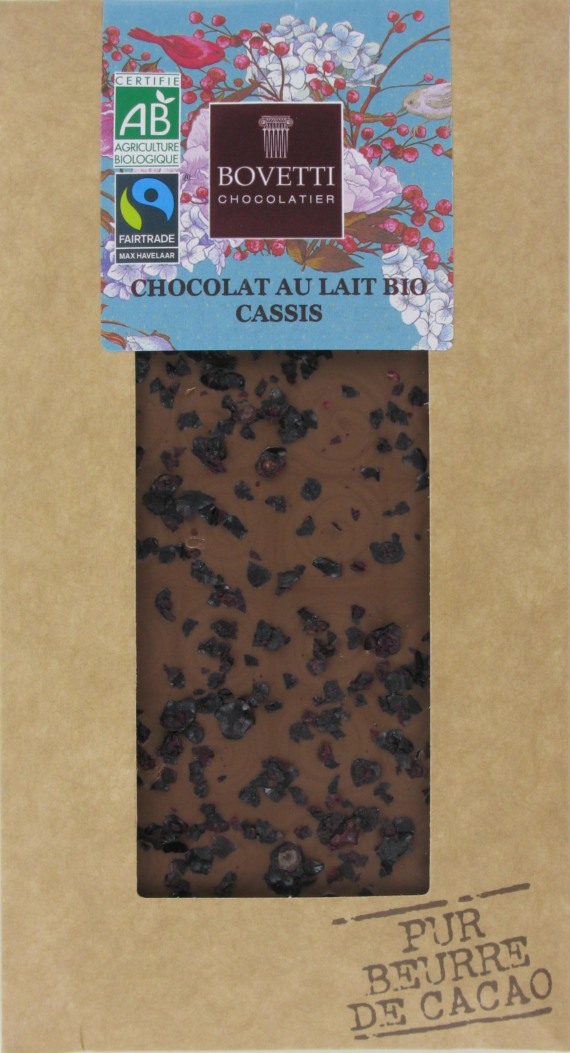 Bio Fair trade mliečna čokoláda s čiernymi ríbezľami 100g