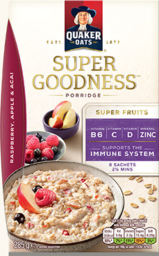 Quaker Oat Super Goodness Raspberry, Apple & Acai Porridge 8x35.6g